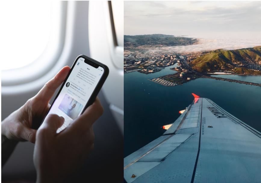 Internetten in het buitenland, vliegtuig
